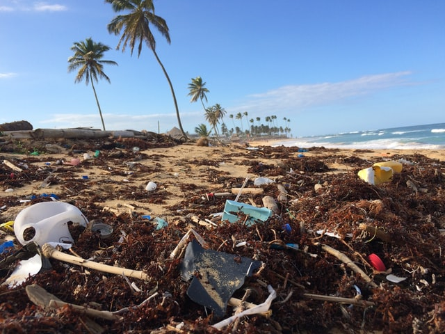 Playa con basura